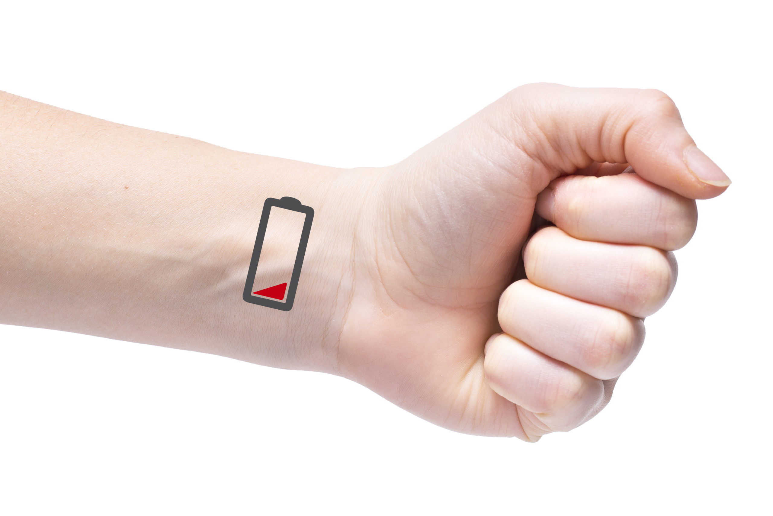 arm with low battery on the wrist