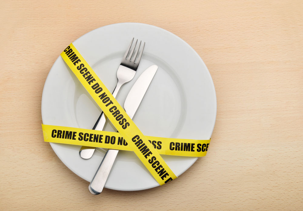 a plate with crime scene do not cross tape over it