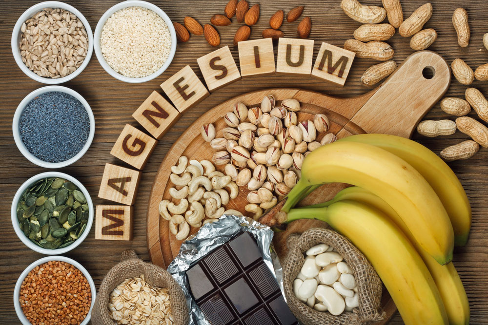 a platter with foods that contain magnesium