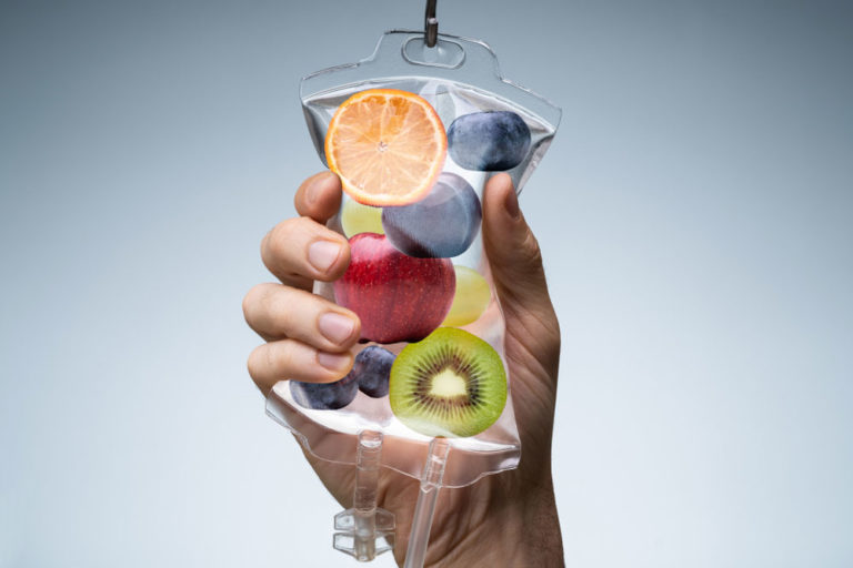 vitamin pouch with fruits inside